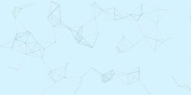 Illustration of blue background with connected particles