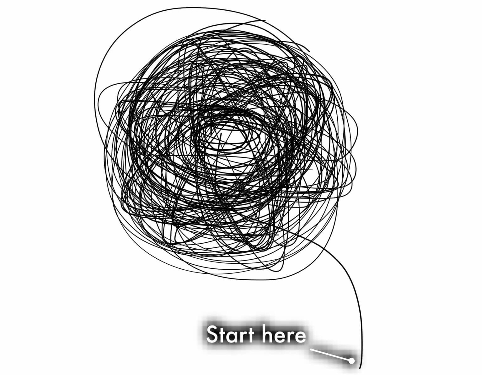 """A ball of yarn showing a loose thread, captioned """"Start here."""""""