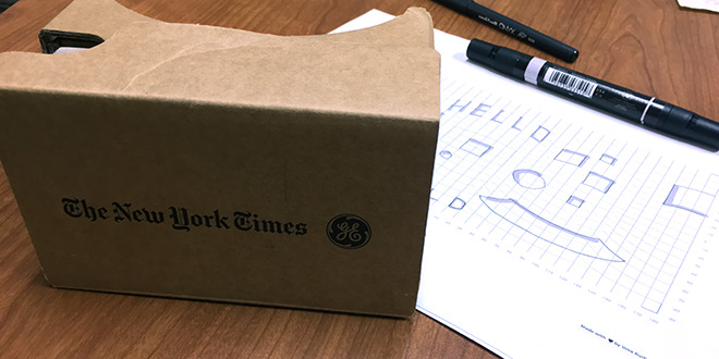 Cardboard reader, equirectangular template, and markers.