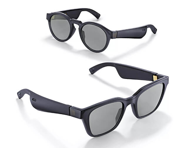 Two pairs of Bose AR glasses. They look just like regular sunglasses, except for the thicker temples that hold batteries, microphone, speakers and more.
